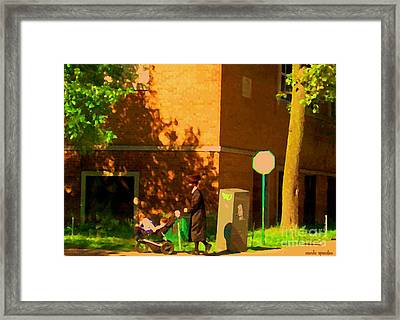 Papa And The Little Ones Sunday Afternoon Stroll On The Avenues Montreal City Scene Carole Spandau Framed Print by Carole Spandau