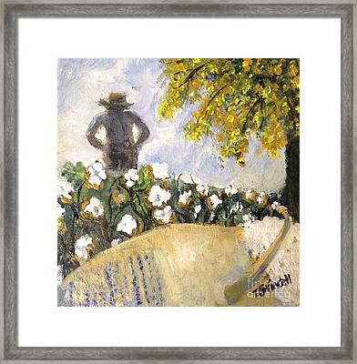 Papa In The Cotton Field Framed Print by Tina Swindell