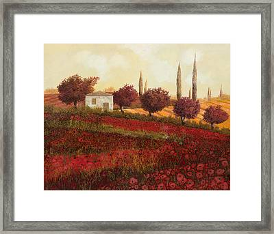 Papaveri In Toscana Framed Print by Guido Borelli