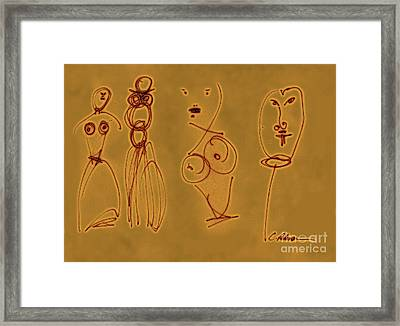 Paper Graffiti.  Allure And Temptation Wire On Orange Framed Print by Cathy Peterson