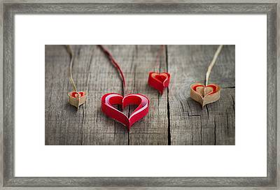 Paper Hearts Framed Print by Aged Pixel