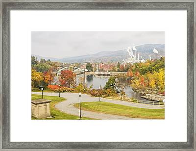 Paper Mill And Fall Colors In Rumford Maine Framed Print by Keith Webber Jr
