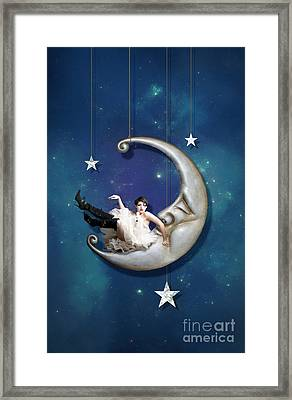 Man In The Moon Framed Print featuring the digital art Paper Moon  Long Narrow Format by Linda Lees