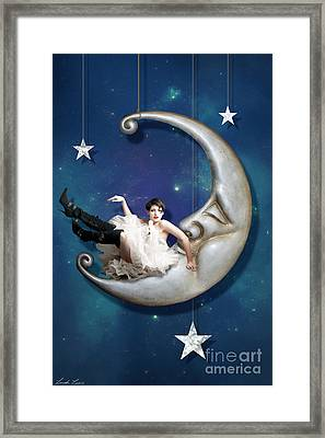 Man In The Moon Framed Print featuring the digital art Paper Moon by Linda Lees