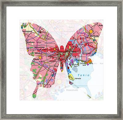 Papillon - Tokio Framed Print by Steffi Louis