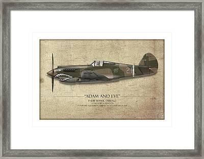Pappy Boyington P-40 Warhawk - Map Background Framed Print by Craig Tinder