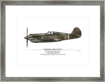 Pappy Boyington P-40 Warhawk - White Background Framed Print by Craig Tinder