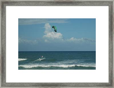Para Surfing The Atlantic Framed Print by Sheri Heckenlaible
