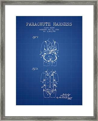 Parachute Harness Patent From 1922 - Blueprint Framed Print by Aged Pixel