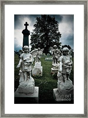 Parade Of Angels Statues At Cemetery Framed Print by Amy Cicconi