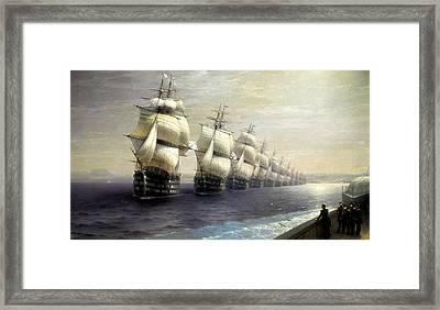 Parade Of The Black Sea Fleet In 1849 Framed Print by Ivan Konstantinovich Aivazovsky