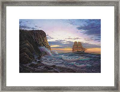 Paradise Cove And The Lightning  Framed Print by Del Malonee