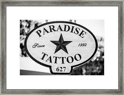 Paradise Tattoo Key West - Black And White Framed Print by Ian Monk