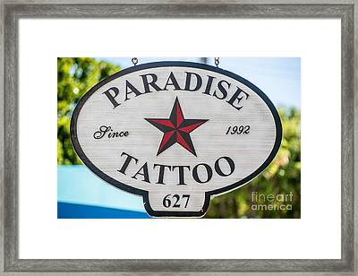 Paradise Tattoo Key West  Framed Print by Ian Monk