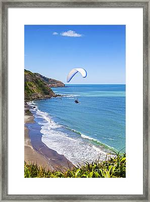 Paragliding At Maori Bay Auckland Framed Print by Colin and Linda McKie