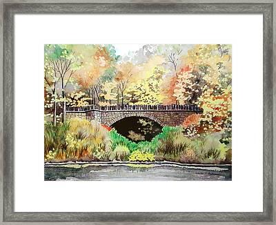 Parapet Bridge - Mill Creek Park Framed Print by Laurie Anderson
