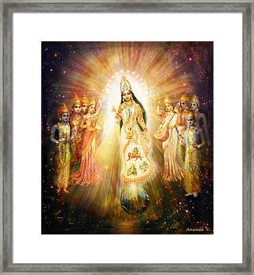 Parashakti Devi - The Great Goddess In Space Framed Print by Ananda Vdovic