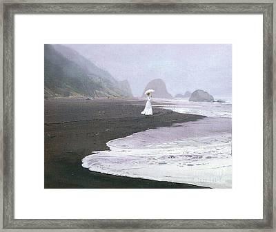 Parasol Beach Framed Print by Robert Foster