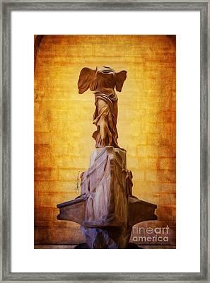 Paris Angel Louvre Museum- Winged Victory Of Samothrace Framed Print by Domenico Castaldo