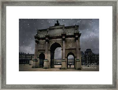 Paris Arc Du Carousel - Louvre Museum Arc De Triomphe - Starry Night Blue Paris Louvre Courtyard Framed Print by Kathy Fornal