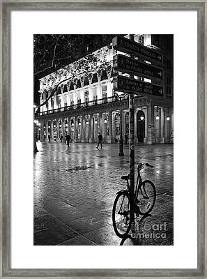 Paris Black And White Palais Royal Rainy Night - Paris Bicycle Street Photography Framed Print by Kathy Fornal