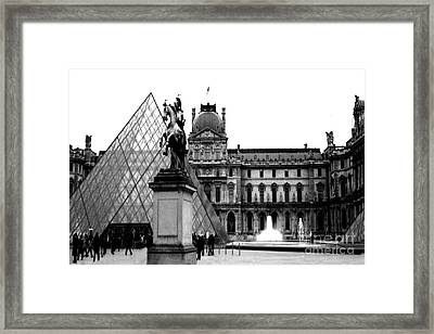 Paris Black And White Photography - Louvre Museum Pyramid Black White Architecture Landmark Framed Print by Kathy Fornal