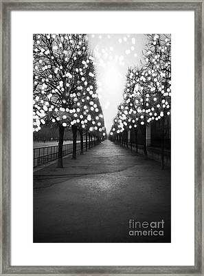 Paris Surreal Black And White Photography - Paris Tuileries Garden Fairy Lights Row Of Trees Framed Print by Kathy Fornal