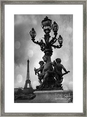 Paris Black And White Pont Alexandre Bridge - Paris Black And White Romantic Eiffel Tower Framed Print by Kathy Fornal