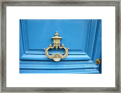 Paris Blue Door Brass Knocker - Parisian Royal Blue Doors And Brass Paris Door Knockers Framed Print by Kathy Fornal