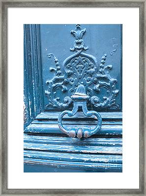 Paris Blue Vintage Door - Paris Antique Vintage Blue Door Knocker - Paris Door Architecture Framed Print by Kathy Fornal