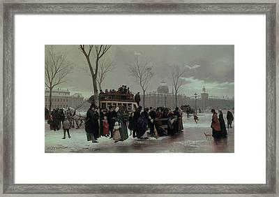 Paris Bus Accident Framed Print by Alphonse Cornet