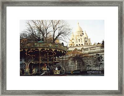 Paris Carousel Merry Go Round Montmartre - Carousel At Sacre Coeur Cathedral  Framed Print by Kathy Fornal