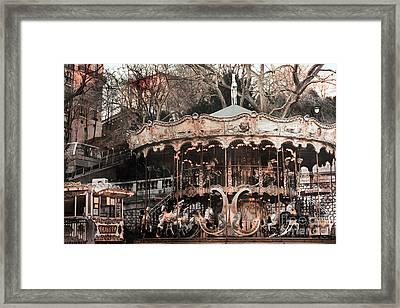 Paris Carousel Merry Go Round Sepia -  Paris Carousel Montmartre District Sacre Coeur Framed Print by Kathy Fornal