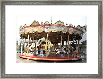 Paris Carousels Merry Go Round Horses - Paris Carousel Rides Fine Art Photography Framed Print by Kathy Fornal