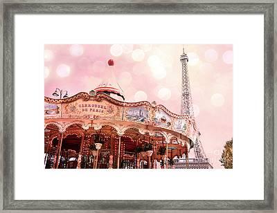 Paris Carrousel De Paris - Eiffel Tower Carousel Merry Go Round - Paris Baby Girl Nursery Decor Framed Print by Kathy Fornal