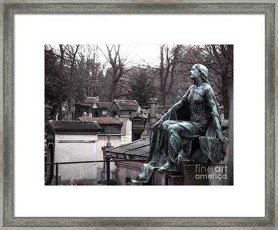 Paris Cemetery Art Sculptures - Female Grave Mourning Figure Monument - Montmartre Cemetery Framed Print by Kathy Fornal