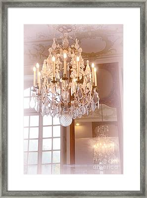 Paris Chandeliers - Dreamy Pastel Pink Rodin Museum Crystal Chandelier With Reflection In Mirror Framed Print by Kathy Fornal