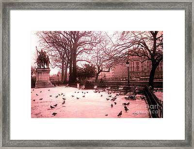 Paris Charlemagne Notre Dame Cathedral Courtyard - Paris Dreamy Pink Notre Dame Statue With Pigeons  Framed Print by Kathy Fornal