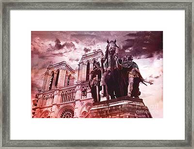 Paris Charlemagne Notre Dame Cathedral Sculpture Monument Landmark - Paris Charlemagne Monument  Framed Print by Kathy Fornal