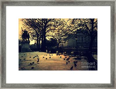 Paris Notre Dame Charlemagne Monument Cathedral Courtyard - Paris Charlemagne Statue Courtyard  Framed Print by Kathy Fornal