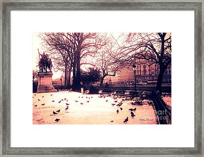Paris Charlemagne Statue - Surreal Sunset Notre Dame Courtyard Charlemagne With Pigeons Framed Print by Kathy Fornal