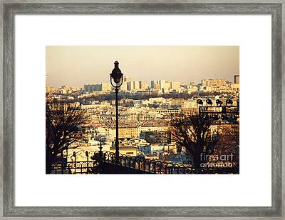 Paris Cityscape Sunset Panoramic View - Paris At Sunset Dusk - Paris City Of Light Aerial View Photo Framed Print by Kathy Fornal