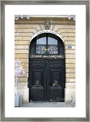 Paris Door Art - Paris Black And Gold Door Architecture - Paris Mens Clothing Shop Door Art Framed Print by Kathy Fornal
