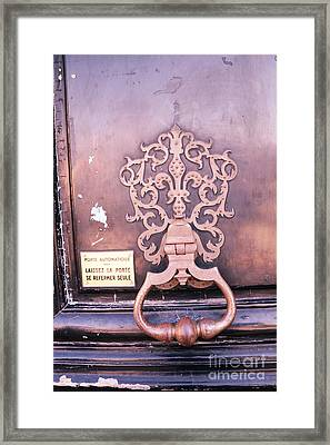Paris Door Photography - Paris Pink Lavender Door Knocker - Paris Door Architecture Framed Print by Kathy Fornal