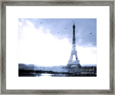 Paris Dreamy Blue Eiffel Tower With Birds Flying - Surreal Fantasy Eiffel Tower Pastel Blue Framed Print by Kathy Fornal