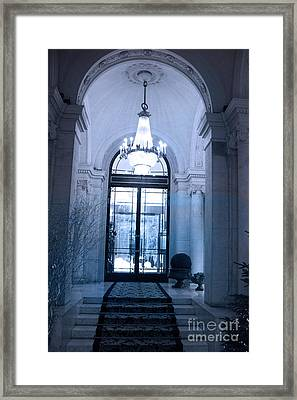 Paris Dreamy Blue Posh Hotel Interior Arch Entry With Sparkling Crystal Chandelier   Framed Print by Kathy Fornal