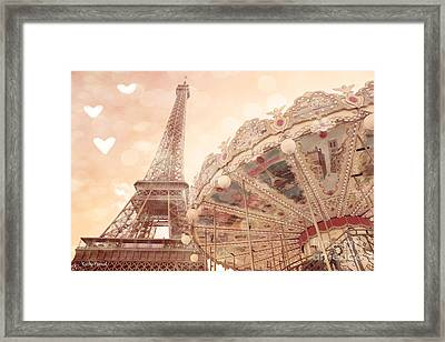 Paris Dreamy Eiffel Tower And Carousel With Hearts - Paris Sepia Eiffel Tower And Carousel Photo Framed Print by Kathy Fornal