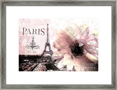 Paris Dreamy Eiffel Tower Montage - Paris Romantic Pink Sepia Eiffel Tower And Flower French Script Framed Print by Kathy Fornal