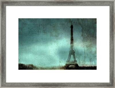 Paris Dreamy Eiffel Tower Teal Aqua Abstract Art Photo - Paris Eiffel Tower Painted Photograph Framed Print by Kathy Fornal