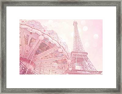 Paris Dreamy Pink Carousel And Eiffel Tower - Eiffel Tower Carousel - Paris Baby Girl Nursery Room Framed Print by Kathy Fornal